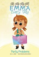 Emma, fingerspelled, Every Day Series. Picture of a young child with a cochlear implant. She has brown hair and is carrying a large shopping bag
